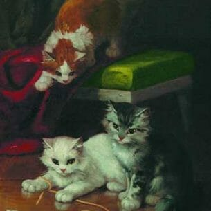 Alfred Arthur Burnel De Neauvill(French, 1851-1941): Kittens at Play