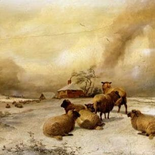 Cooper, Thomas Sidney – Sheep In A Winter Landscape Oil Painting Reproductions