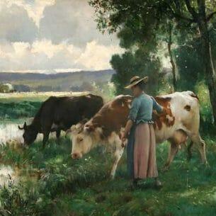 Dupre, Julien(France): Les Vaches a l'Abreuvoir
