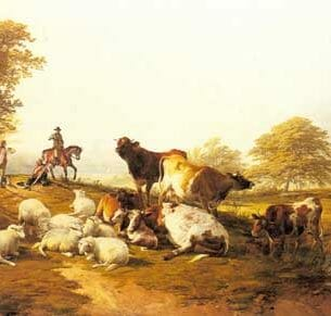 Cooper, Thomas Sidney(UK): Cattle and Sheep Resting in an Extensive Landscape Oil Painting Reproductions