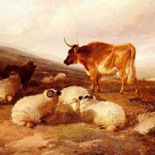 Cooper, Thomas Sidney(UK): Rams And A Bull In A Highland Landscape Oil Painting Reproductions
