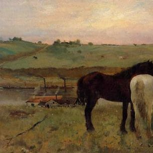 Degas, Edgar – Horses in the Meadow Oil Painting Reproductions
