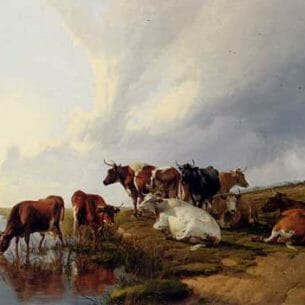 Cooper, Thomas Sidney: Evening In The Meadows Oil Painting Reproductions