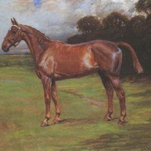 Cecil Windsor Aldin – Chestnut Horse in Landscape Oil Painting Reproductions