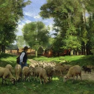 Dupre, Julien(France) – A Shepherd and His Flock Oil Painting Reproductions