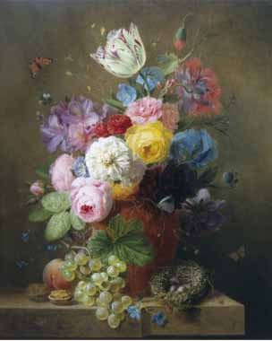 Arnoldus Bloemers – Rich Still Life of Roses, Poppies, Azaleas and Tulips Oil Painting Reproductions