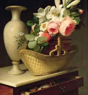 Antoine Berjon – Bouquet of Lilies and Roses in a Basket Oil Painting Reproductions