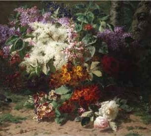 Arnold Boonen – A Floral Still Life in a Wooded Landscape Oil Painting Reproductions