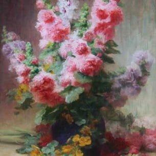 Achilie Theodore Cesbron – Hollyhocks And Mixed Flowers