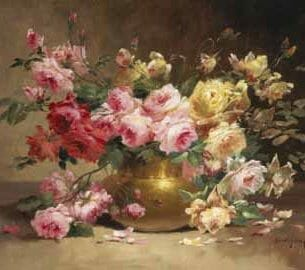 Alfred Godchaux – Rich Still Life of Pink and Yellow Roses Oil Painting Reproductions