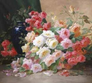 Alfred Godchaux – Romantic Roses Oil Painting Reproductions