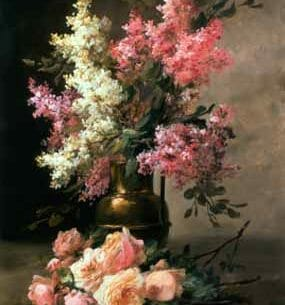 Alfred Godchaux – Roses and Lilacs Oil Painting Reproductions