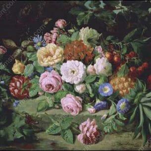 Antoine Berjon – A Still Life of Summer Flowers Oil Painting Reproductions