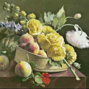 Antoine Berjon – Still Life of Hollyhocks and Nasturtium Oil Painting Reproductions