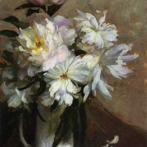 Curran, Charles Courtney – Peonies Oil Painting Reproductions