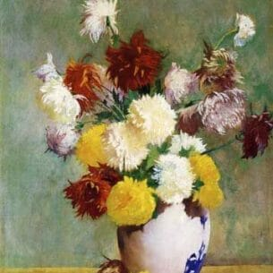 Emil Carlsen – Still Life of Chrysanthemums in a Canton Vase Oil Painting Reproductions