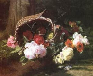 Bruyas, Marc-Laurent: Still Life of Roses with a Basket Oil Painting Reproductions