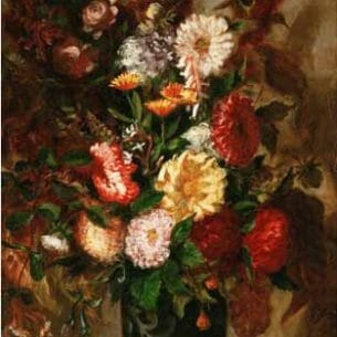 Delacroix, Eugene – Flowers in an Earthenware Pot Oil Painting Reproductions