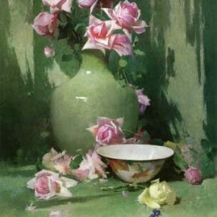 Emil Carlsen – Vase of Roses Oil Painting Reproductions