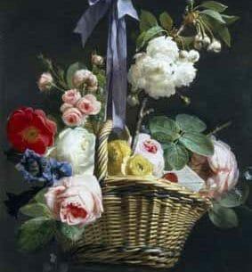 Antoine Berjon – Romantic Basket of Flowers Oil Painting Reproductions