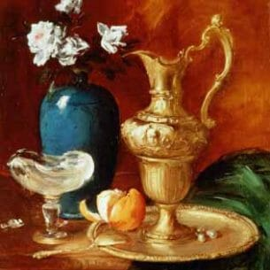 Antoine Vollon – Still Life of a Gilt Ewer, Vase of Flowers and a Facon De Venise Bowl Oil Painting Reproductions
