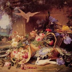 Bidau, Eugene(France): Elegant Still Life with Flowers Oil Painting Reproductions