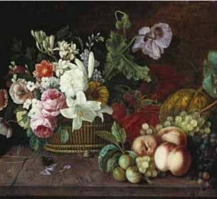 Adele Evrard – Still Life with a Basket of Flowers and Fruit on a Marble Ledge