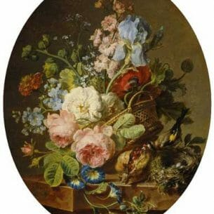Cornelis Spaendonck – Open wicker basket of mixed flowers 2 Oil Painting Reproductions