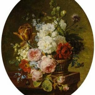 Cornelis Spaendonck – Open wicker basket of mixed flowers Oil Painting Reproductions
