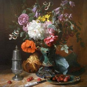 David Noter – Still Life with Flowers and Fruit Oil Painting Reproductions