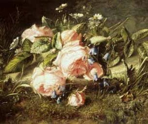 Adriana-johanna Haanen – Pink Roses and Daisies Oil Painting Reproductions