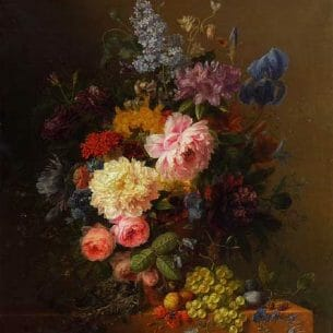 Arnoldus Bloemers – Peonies, Roses, Irises, Lilies, Lilac and Other Flowers in a Vase Oil Painting Reproductions