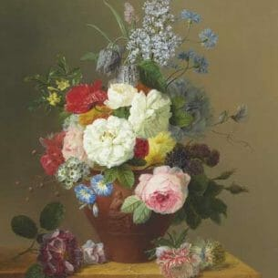 Arnoldus Bloemers – Roses, Poppies, Cornflowers, Convulvulus, Jasmine in a terracotta Vase Oil Painting Reproductions