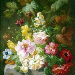 Arnoldus Bloemers – Still Life with Roses, Marigolds and Daffodils Oil Painting Reproductions