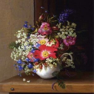 Adelheid Dietrich – Still Life with Dog Roses, Larkspur and Bell Flowers in a White Cup Oil Painting Reproductions