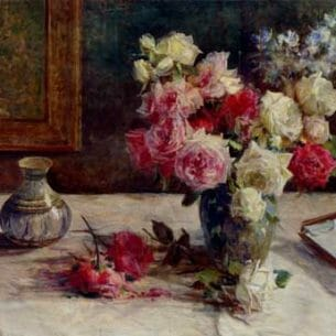 Barzanti, Licinio(Italy): Roses, A Vase And Some Books On A Table