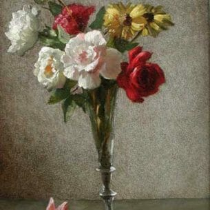 Bernard De Hoog: Still Life with a Vase of Roses and Daisies Oil Painting Reproductions