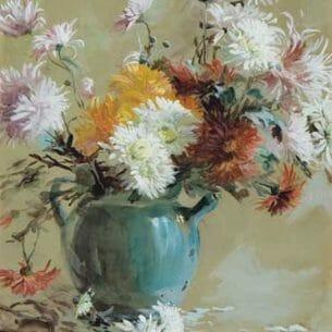 Elizabeth Nourse: Mums in a Teapot Oil Painting Reproductions