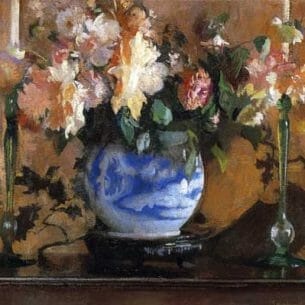 Edmund Tarbell – Flowers in a Blue Ginger Jar Oil Painting Reproductions