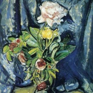 Alfred Henry Maurer – Flowers Against a Blue Drape Oil Painting Reproductions