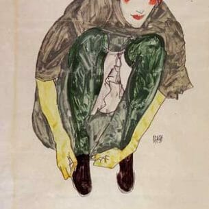 Egon Schiele – Crouching Figure Oil Painting Reproductions