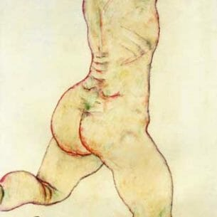 Egon Schiele – Kneeling Female Nude, Back View Oil Painting Reproductions