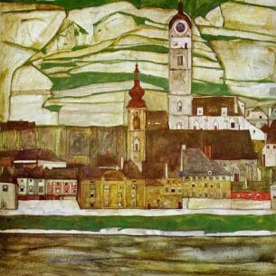 Egon Schiele – Stein on the Danube with Terraced Vineyards