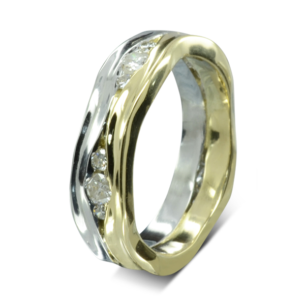 Two Tone Diamond Trap Eternity Ring